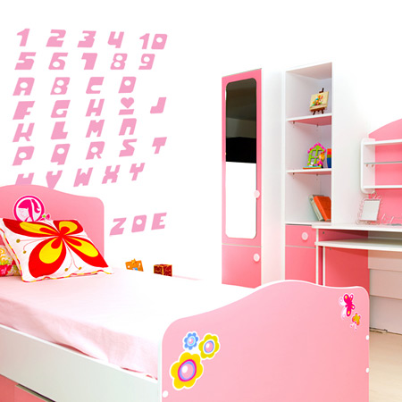 Stickers For Girls. Girls Numbers Wall Sticker